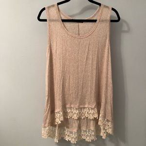High-low tank top with lace bottom